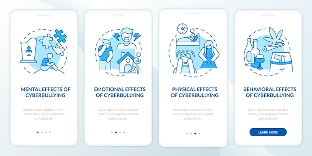 Risultati della cyberumiliazione durante l'inserimento della schermata della pagina dell'app mobile con i concetti