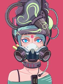 Ragazza cyberpunk cyborg in stile sci-fi in una maschera tecnologica