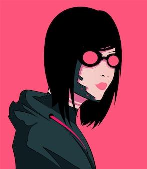 Ragazza dai capelli scuri cyberpunk con gli occhiali