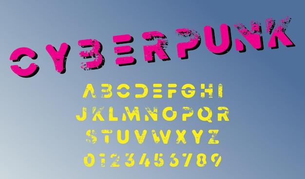 Modello di alfabeto di design cyberpunk. lettere e numeri in stile futuristico. illustrazione vettoriale.