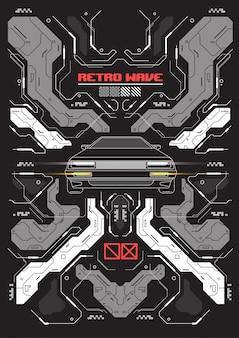 Banner futuristico cyberpunk con auto retrò astratta.