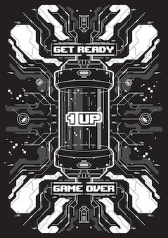 Banner futuristico cyberpunk con elementi di giochi retrò.