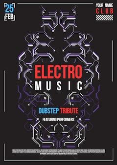 Poster futuristico cyberpunk. modello di poster futuristico retrò. layout di musica elettronica. volantino festa club moderno.