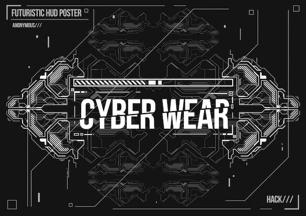 Poster futuristico cyberpunk. modello di poster futuristico retrò. layout di musica elettronica.