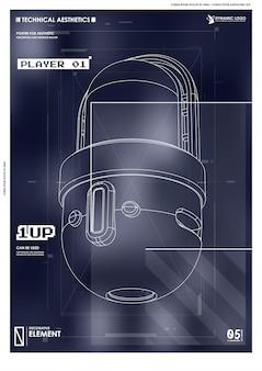 Manifesto futuristico cyberpunk. modello di poster astratto tech con elementi hud.