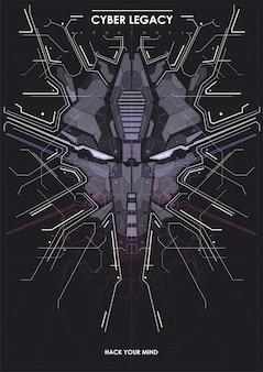 Poster futuristico cyberpunk con testa di robot.