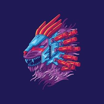 Illustrazione del leone cyberpunk