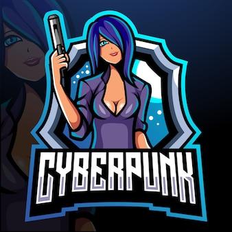Cyberpunk mascotte esport logo design