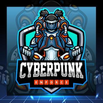 Mascotte cyberpunk. design del logo esport