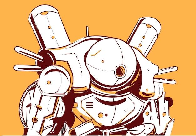 Robot cyberpunk con una testa sferica in stile anime fantascientifico