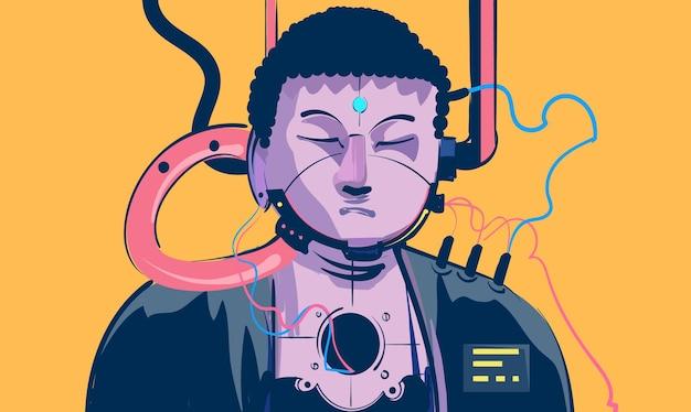 Illustrazione di cyberpunk sci fi buddha