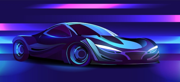 Auto sportiva cyberpunk in stile retrowave degli anni '80 illuminata con illustrazione al neon