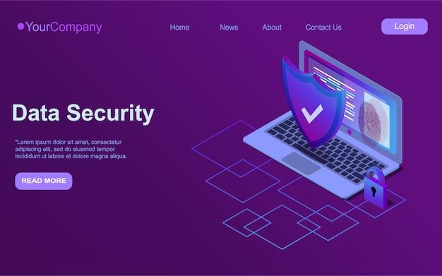 Icona isometrica di sicurezza informatica, concetto di sicurezza dei dati, rete di computer protetta, scudo con laptop, cloud computing di sicurezza, sistema di elaborazione dei dati, ultravioletto