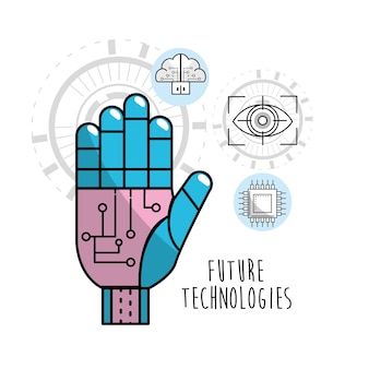 La mano del cyberspazio con i circuiti si connette
