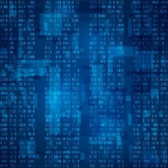 Cyberspazio. flusso di codice binario blu. sfondo futuristico. visualizzazione ed elaborazione dei dati in formato binario. illustrazione