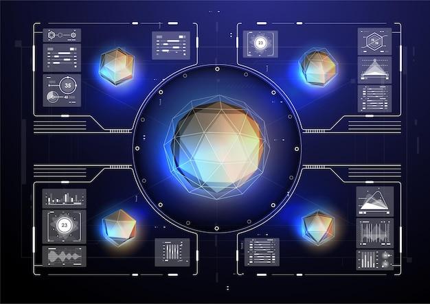 Cyberspazio realtà virtuale in stile hud. schermate di visualizzazione per titoli tecnici e sfondo.