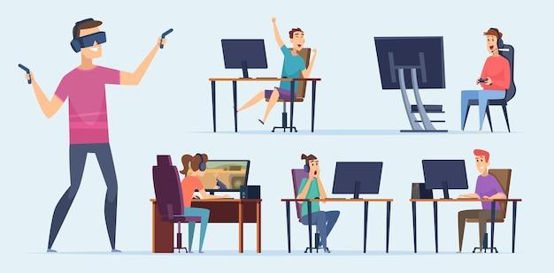 Personaggi del cybersport. giocatori di squadre di videogiochi adolescenti che giocano su console con joystick pc un notebook