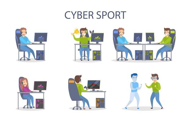 Set da gioco cybersport. le persone con i computer vincono e combattono.