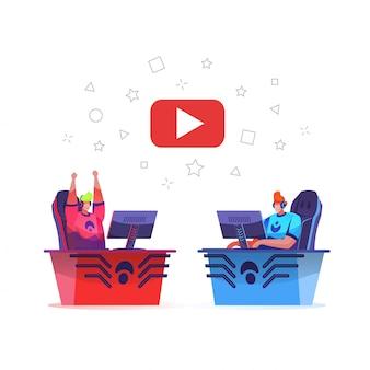 Squadra di cybersport che gioca gioco online con streaming