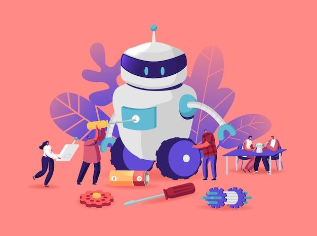 Processo di creazione di cyborg, hobby di robotica. i personaggi impostano un enorme robot. donna con telecomando, uomo con cacciavite. tecnologia di assemblaggio dell'intelligenza artificiale. cartoon persone illustrazione vettoriale