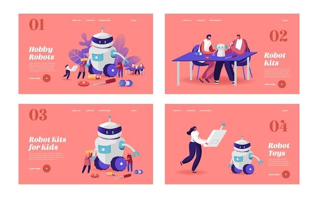 Creazione di cyborg, set di modelli di pagina di destinazione hobby robotica. i personaggi impostano un enorme robot. donna con telecomando uomo con cacciavite. intelligenza artificiale. cartoon persone illustrazione vettoriale