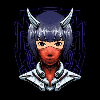 Illustrazione di cyborg devil girl