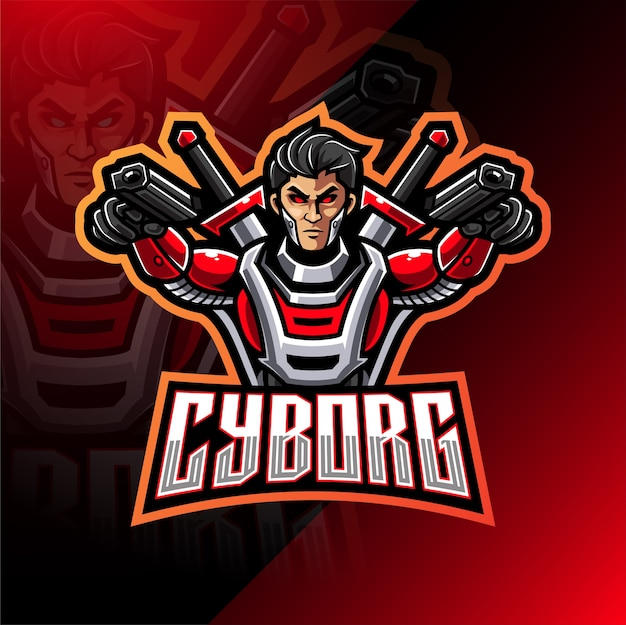 Cyborg esport mascotte logo design