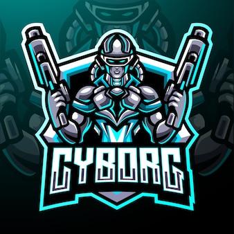 Mascotte dei cannonieri cyborg. design del logo esport