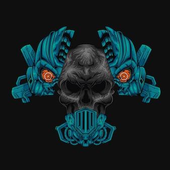 Illustrazione di disegno di vettore della testa del cranio del ferro del cyborg