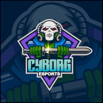 Disegno del logo mascotte cyborg