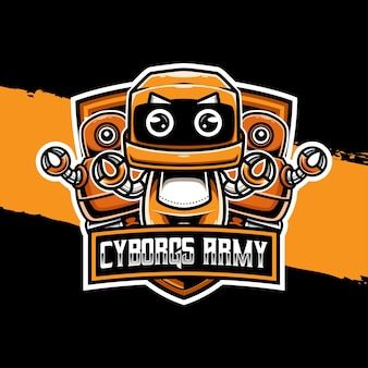 Icona del personaggio del logo esport dell'esercito dei cyborg