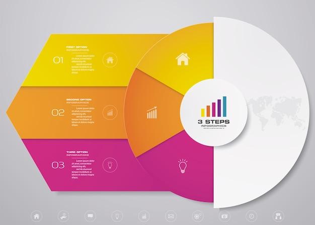 Elementi di infographics del grafico del ciclo per la presentazione dei dati