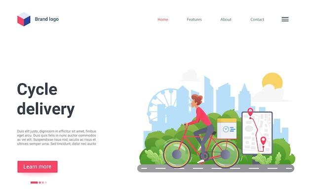 Ciclo di consegna pagina di destinazione corriere ciclista in sella a bicicletta con pacco casella postale