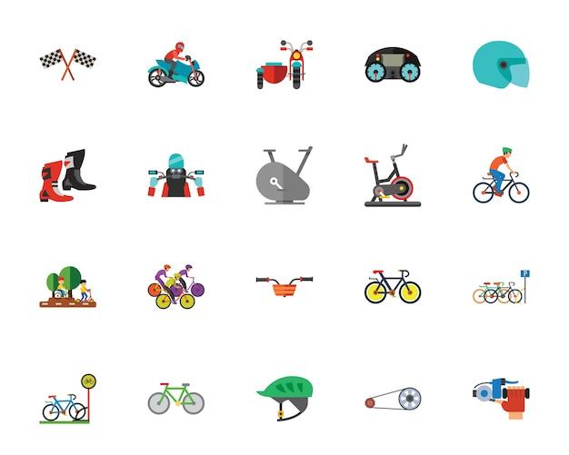 Set di icone di sport moto e ciclo