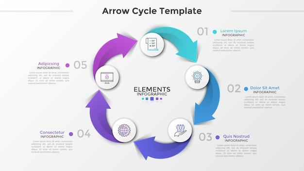 Grafico ciclico con 5 cerchi bianchi di carta, icone a linee sottili, numeri e caselle di testo collegate da frecce colorate. concetto di processo del ciclo produttivo. modello di progettazione infografica. illustrazione vettoriale.