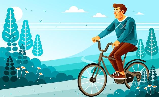 Andare in bicicletta in un ambiente bellissimo