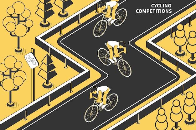 Composizione isometrica di gare ciclistiche con testo e vista della pista con ciclisti e alberi