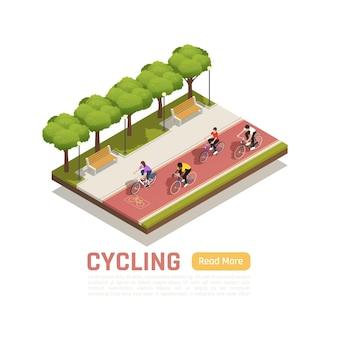 Composizione isometrica in bicicletta con persone che vanno in bicicletta sulla pista ciclabile nel parco cittadino