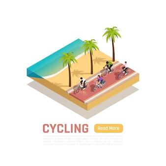 Composizione estiva isometrica in bicicletta con persone che vanno in bicicletta lungo la riva del mare meridionale