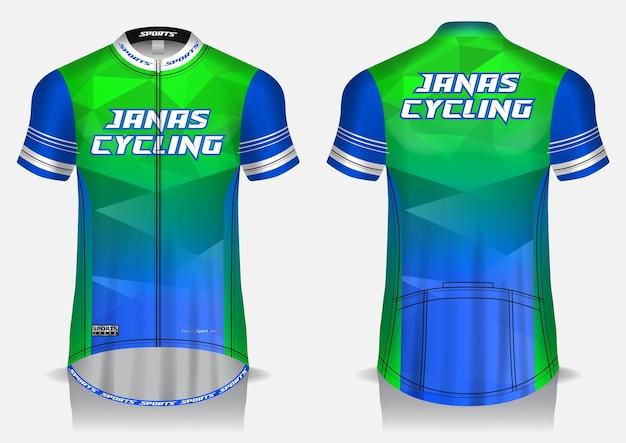 Maglia da ciclismo blu modello, maglietta uniforme, vista anteriore e posteriore