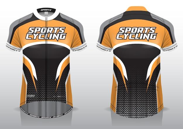 Maglia da ciclismo, vista frontale e posteriore, dal design sportivo e pronta per essere stampata su tessuto e texlite