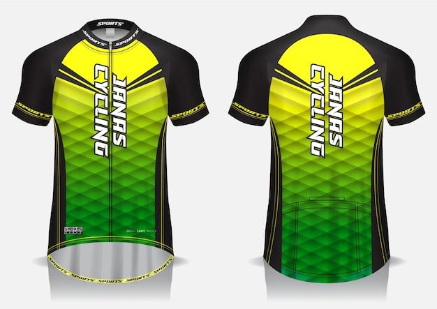 Maglia da ciclismo verde modello, maglietta uniforme, vista anteriore e posteriore