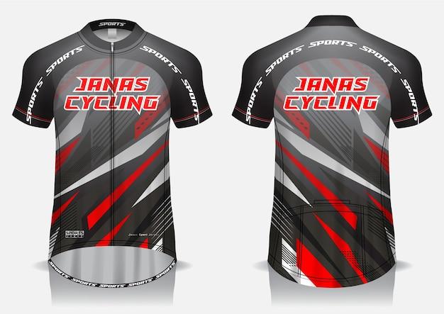 Maglia da ciclismo grigia modello, maglietta uniforme, vista anteriore e posteriore
