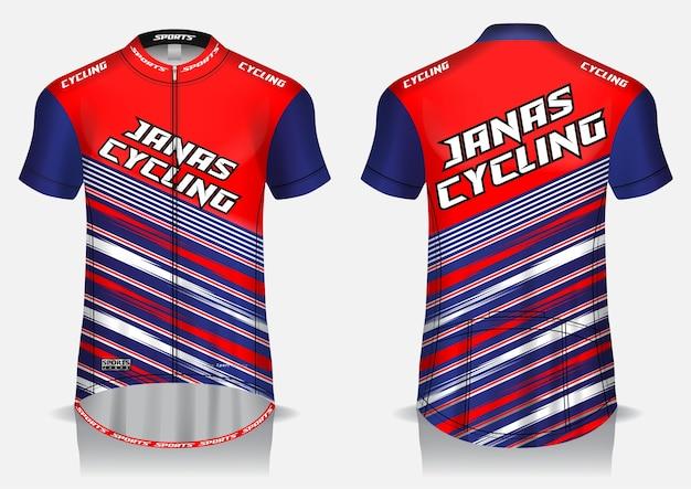 Maglia da ciclismo rossa modello, maglietta uniforme, vista anteriore e posteriore