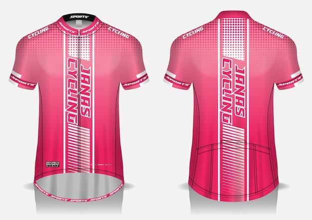 Modello di maglia da ciclismo, uniforme, vista anteriore e posteriore