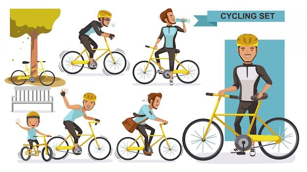 Set uomo ciclismo. ciclista su strada maschio. city bike rilassati nel parco, fai ginnastica, vai al lavoro. concetto di cultura motociclista.