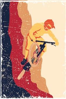 Poster in bicicletta in stile antico persone