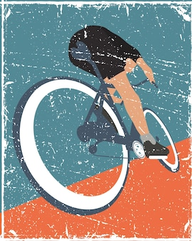 Poster in bicicletta persone in stile antico