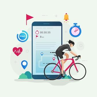 Illustrazione di concetto di design di app tracker ciclismo