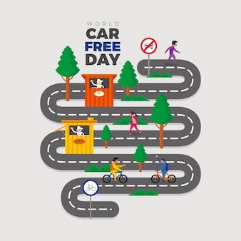 Pedalare e camminare su strada durante la giornata mondiale senza auto
